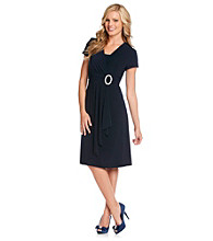 R & M Richards® Petites' Cascade Dress With Rhinestone Buckle.