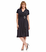 R & M Richards® Plus Size Cascade Dress With Rhinestone Buckle