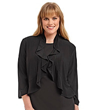 R & M Richards® Plus Size Ruffle Shrug