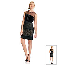 S.L. Fashions Mixed Media Sheath Dress