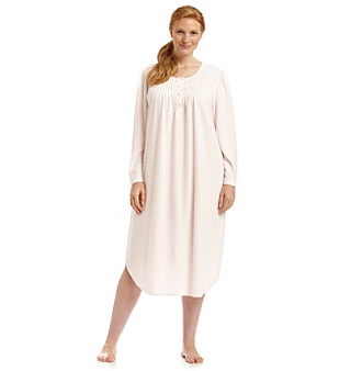 Miss Elaine® Plus Size Honeycomb Knit Long Gown