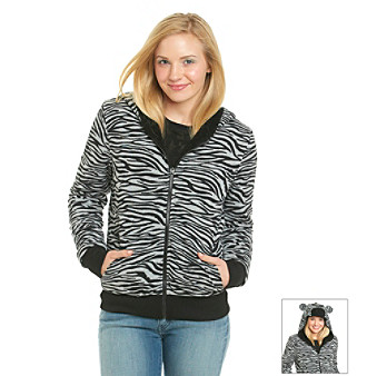 Fresh Brewed Juniors' Zebra Snuggle Plush Hoodie