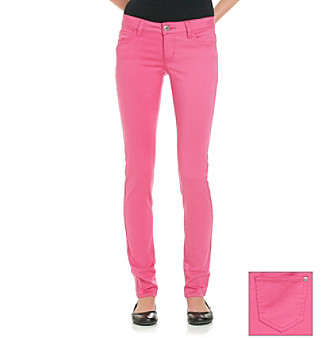 Celebrity Pink Juniors' Hot Pink Stretch Sateen Skinny Jeans