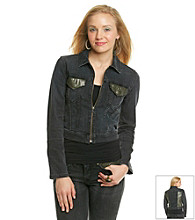 Levi's Juniors' Worn Black Embellished Trucker Jacket