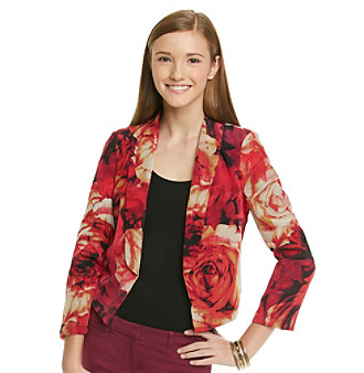 XOXO Juniors' Rose Print Jacket