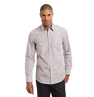 DKNY JEANS® Men's White Long Sleeve Yarn Dyed Poplin Shirt