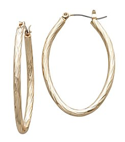 Relativity® Goldtone Oval Tailored Earrings