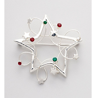 Studio Works® Silvertone Holiday Motif 2012 Star Pin