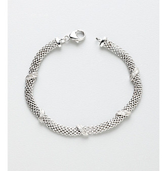Sterling Silver Mesh Link Bracelet with Diamond Accent