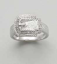 Sterling Silver Buckle Ring with Diamond Accent