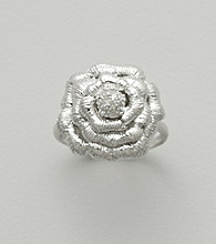 Sterling Silver Flower Ring with Diamond Accent