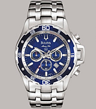 Bulova® Men's Marine Star Chronograph Stainless Steel with Blue Dial Bracelet Watch