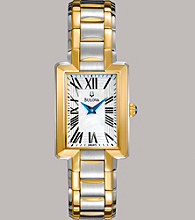Bulova® Women's Stainless Steel Two Tone Bracelet Watch with White Mother Of Pearl Dial