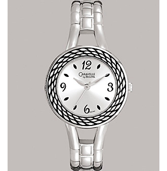 Caravelle® by Bulova Women's Bangle Bracelet Watch with Silver-White Dial
