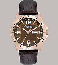 Caravelle® by Bulova Men's Rose Gold Finish with Brown Leather Strap and Brown Dial Watch