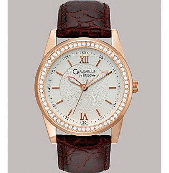Caravelle® by Bulova Women's Rose Gold Finish with Brown Leather Strap Watch