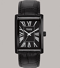 Caravelle® by Bulova Men's Black Ion-Plated Finish with Black Leather Strap and Black Dial Watch