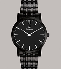 Bulova® Men's Stainless Steel and Black Ion-Plated Bracelet Watch with Black Dial