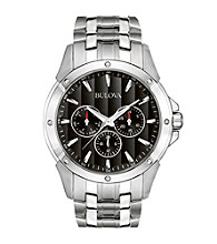 Bulova® Men's Stainless Steel Bracelet Watch with Black Dial