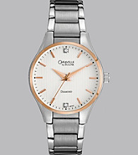 Caravelle® by Bulova Women's Two Tone Silver and Rose Gold Finish Bracelet Watch with Diamond Dial