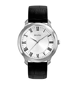 Bulova® Men's Black Leather Strap Watch with Silver White Dial
