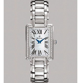 Bulova® Women's Stainless Steel Bracelet Watch with Diamond Set Case and White Mother Of Pearl Dial