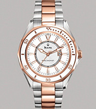 Bulova® Women's Precisionist Stainless Steel and Rose Gold Finish Bracelet Watch with Silver-White Dial - Winterpark Collect