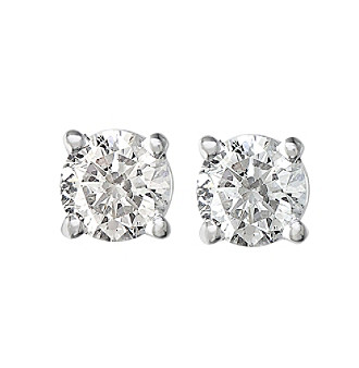 Dazzling diamonds set in 14K white gold make an elegant and classic stud earring.