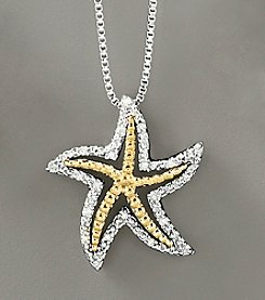 Sterling Silver and 14k Gold .06 ct. t.w. Diamond Starfish Pendant
