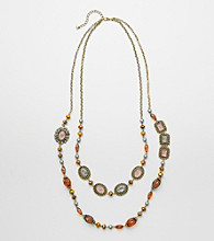 Erica Lyons® Two-Tone Two Row Beaded Long Necklace