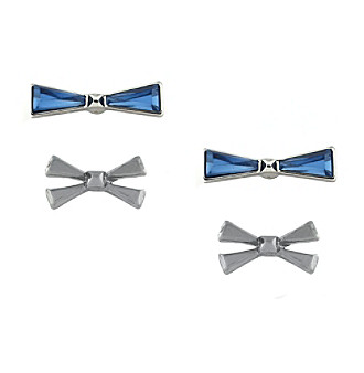 BCBGeneration™ Rolling Stone Silver Bow Stud Duo Earring Set