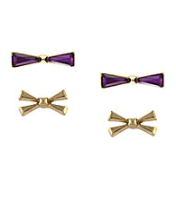 BCBGeneration™ Rolling Stone Gold Bow Stud Duo Earring Set