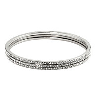 Givenchy® Silvertone/Crystal Bangle Set