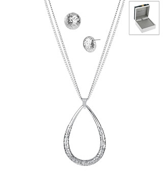 Kenneth Cole® Silver Glitter Teardrop Pendant Necklace & Round Stud Earring Set in a Kenneth Cole Gift Box