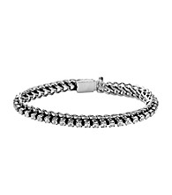 Fossil® Silvertone Bracelet with Glitz Chain Woven Through