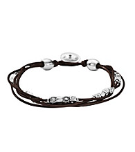 Fossil® Multi Strand Chocolate Leather Wrist Wrap with Silvertone Nuggets