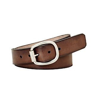 Fossil® Brown Rollerbuckle Centerbar Belt