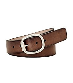 Fossil® Brown Rollerbuckle Centerbar Belt