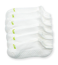 HUE® White Massaging Liner 6-Pair Pack Socks