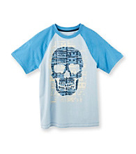 Ruff Hewn Boys' 8-20 Bell Blue Short Sleeve Graphic Raglan Tee