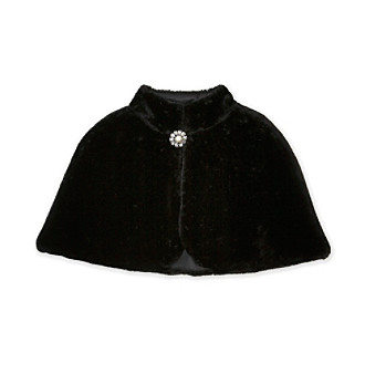Amy Byer Girls' 7-16 Black Faux Fur Cape