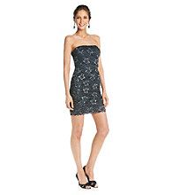 Marina Strapless Beaded Lace Cocktail Dress