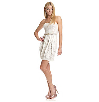 Jessica Simpson Strapless Corkscrew Ruffle Dress
