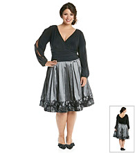 S.L. Fashions Plus Size Scatter Coin Border Party Dress