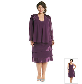 S.L. Fashions Plus Size Chiffon Tiered Jacket Dress