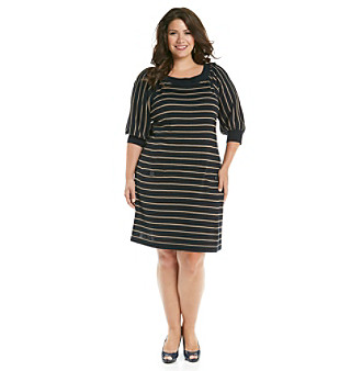 Jessica Howard Plus Size Shirred Sleeve Thin Stripe Sweater Dress