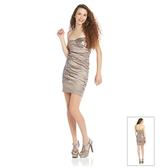 City Triangle® Juniors' Sequin Strapless Dress