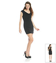 A. Byer Juniors' Black Ruched Fitted Dress