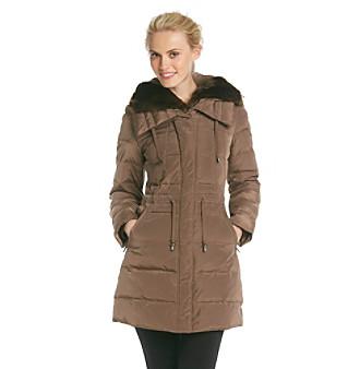 Laundry Faux Fur Trimmed Down-Blend Anorak Coat