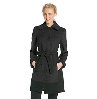Calvin Klein Single-Breasted Belted Colorblock Walker